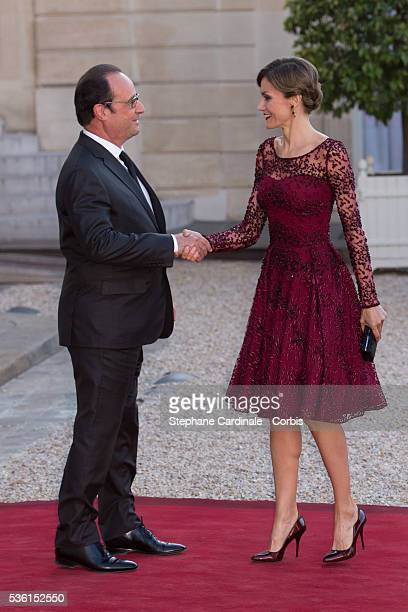 President of France François Hollande receives Her Majesty The Queen Letizia of Spain for the State Dinner at the Elysee Palace on June 2 2015 in...