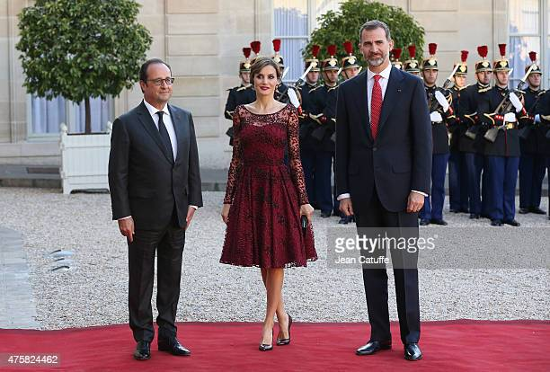 President of France François Hollande welcomes Her Majesty The Queen Letizia of Spain and His Majesty The King Felipe VI of Spain at the State Dinner...