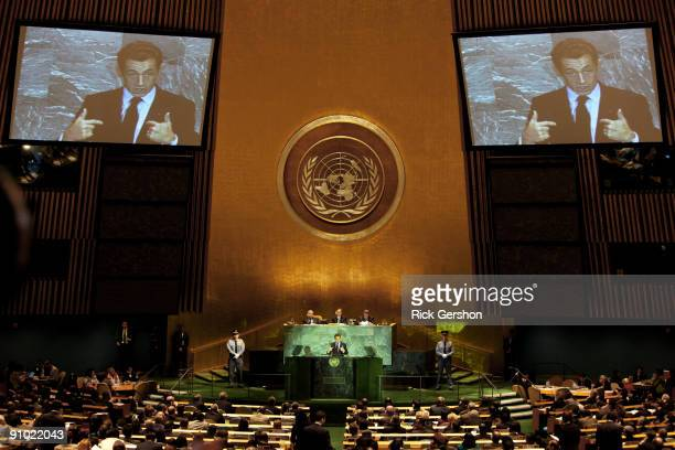 President of France Nicolas Sarkozy delivers remarks at United Nations Secretary General Ban Kimoon's summit on climate change at United Nations...