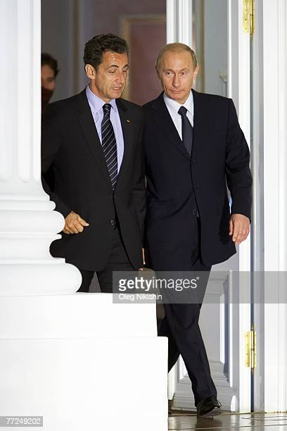 President of France Nicolas Sarkozy meets with his Russian counterpart Vladimir Putin at the Kremlin on October 10, 2007 in Moscow, Russia. Sarkozy,...