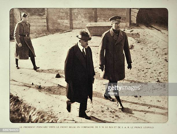 President of France Raymond Poincare meets the Belgian king Albert I and prince Leopold III in Flanders during WWI Belgium