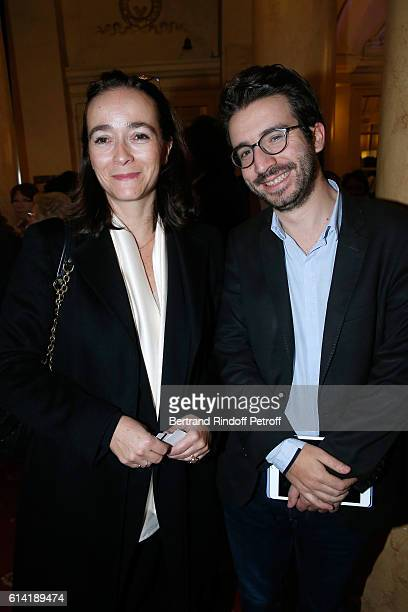President of France Television Delphine Ernotte and her Chief of Staff Stephane SitbonGomez attend the 'A Droite A Gauche' Theater Play at Theatre...