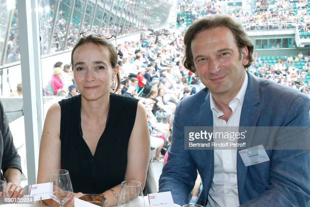 President of France Television Delphine Ernotte and journalist Francois Busnel attend the 'France Television' Lunch during the 2017 French Tennis...