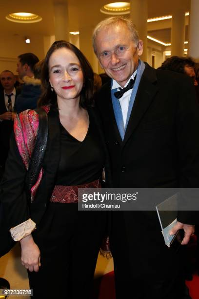 President of France Television Delphine Ernotte and VicePresident of M6 Group Thomas Valentin attend the Cesar Film Awards 2018 at Salle Pleyel on...