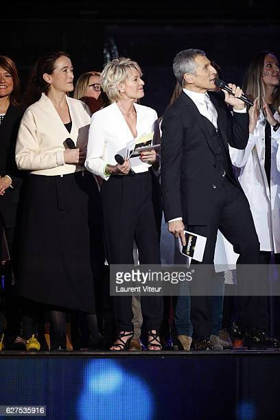 President of France Television Delphine Ernotte Cunci Sophie Davant and Nagui attend 30th Telethon at Hippodrome de Longchamp on December 3 2016 in...