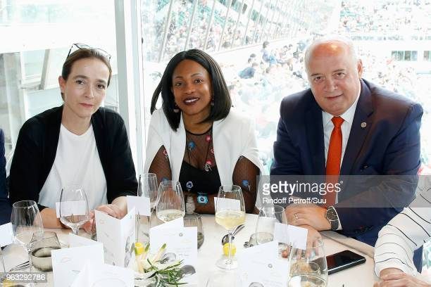 President of France Television, Delphine Ernotte, Sport Mininister Laura Flessel and President of French Tennis Federation Bernard Giudicelli attend...