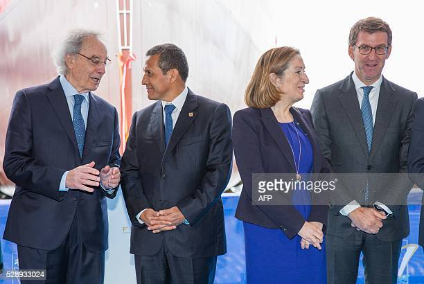 President of Freire shipyard Jesus Freire President of Peru Ollanta Humala Spanish minister of public works and transport Ana Pastor and Galician...