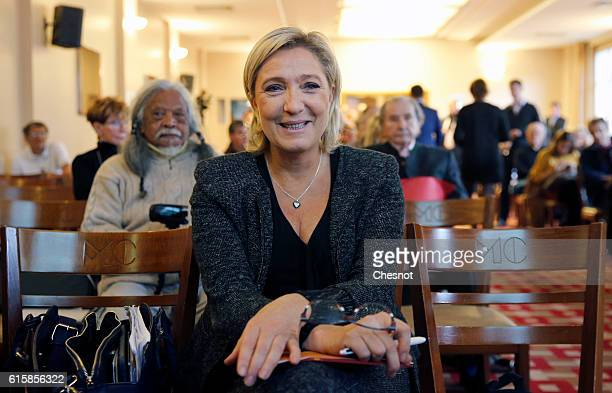 President of French farright Front National party Marine Le Pen attends a meeting on the theme 'Ageing well a major issue in the nineteenth century'...