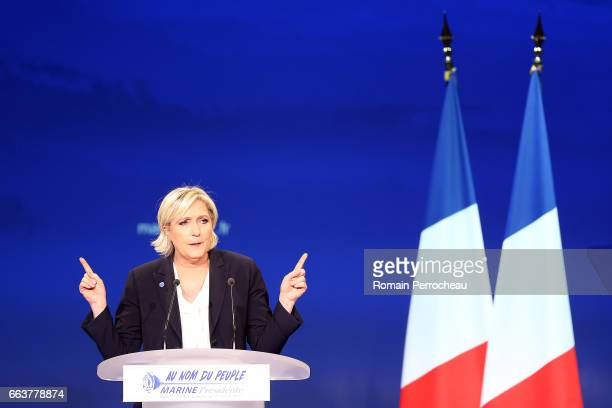 President of French farright Front National party Marine Le Pen delivers a speech during a campaign rally at parc des expositions on April 2 2017 in...