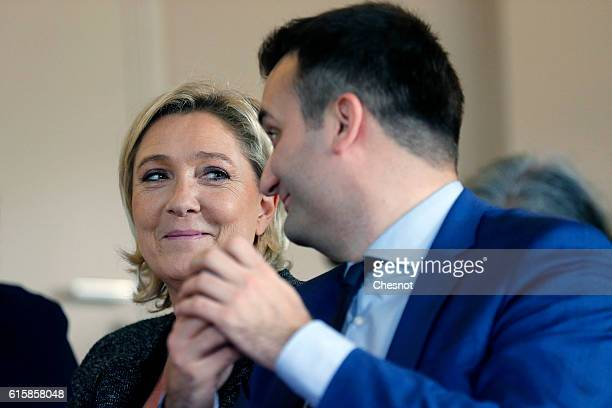 President of French farright Front National party Marine Le Pen and FN's vicepresident Florian Philippot attend a meeting on the theme 'Ageing well a...