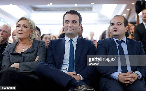 President of French farright Front National party Marine Le Pen FN's vicepresident Florian Philippot and David Rachline FN Senator mayor of Frejus...