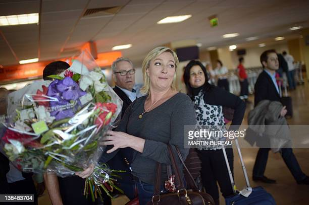 President of French farright party Front national and candidate for the 2012 French presidential election Marine Le Pen arrives at Roland Garros...