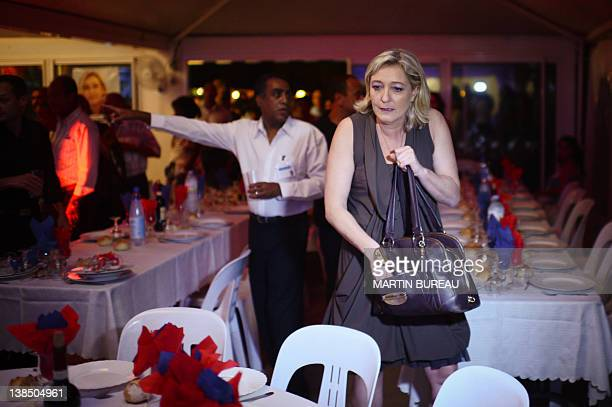 President of French farright party Front national and candidate for the 2012 French presidential election Marine Le Pen arrives for a campaign...