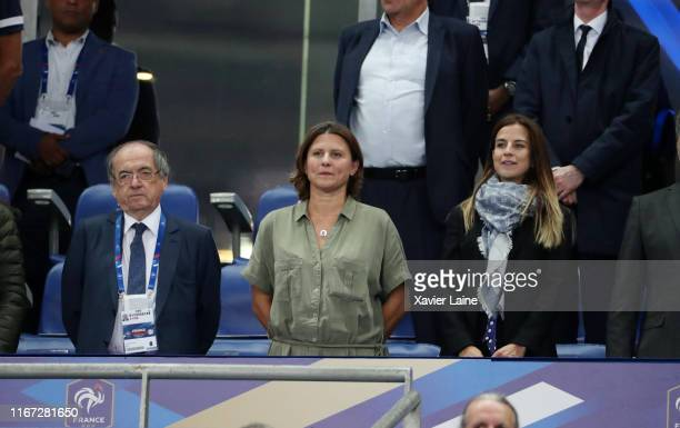 President of French Federation of Football Noel Le Graet and Sport Ministor Roxana Maracineanu attend the 2020 UEFA European Championships Group H...