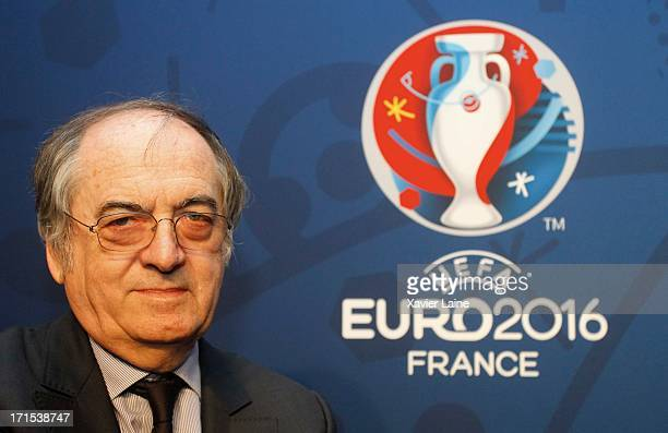 President of French Federation of Football Noel Le Graet poses during EURO 2016 Logo Slogan Launch on June 26 2013 in Paris France