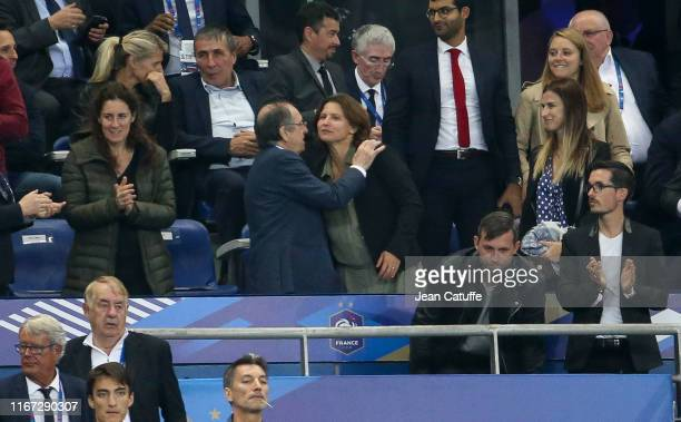 President of French Football Federation FFF Noel Le Graet greets French Minister of Sports Roxana Maracineanu following the UEFA Euro 2020 qualifier...
