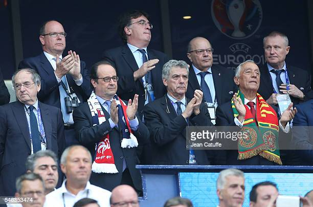 President of French Football Federation FFF Noel Le Graet President of France Francois Hollande Angel Maria Villar President of Portugal Marcelo...