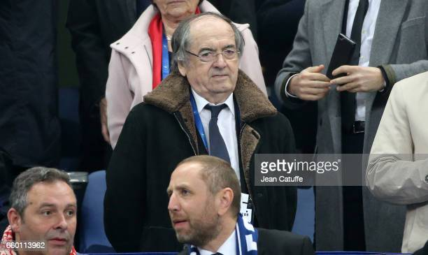 President of French Football Federation Noel Le Graet attends the international friendly match between France and Spain between France and Spain at...