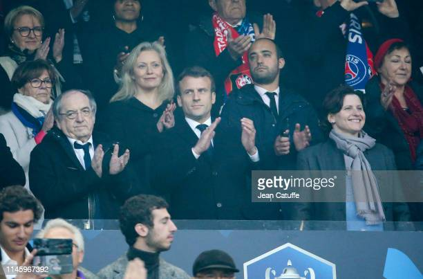 President of French Football Federation Noel Le Graet President of France Emmanuel Macron French Minister of Sports Roxana Maracineanu above them...