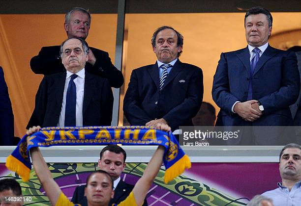 President of French Football Federation Noel le Graet UEFA president Michel Platini and Ukraine's President Viktor Yanukovych during the UEFA EURO...