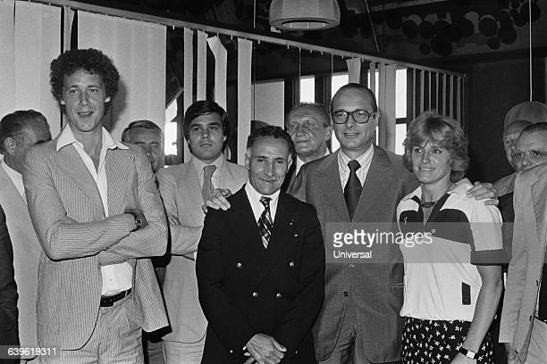 President of French Gaullist party Rally for the Republic Jacques Chirac launching a project called Sport for All French People He is supported by...