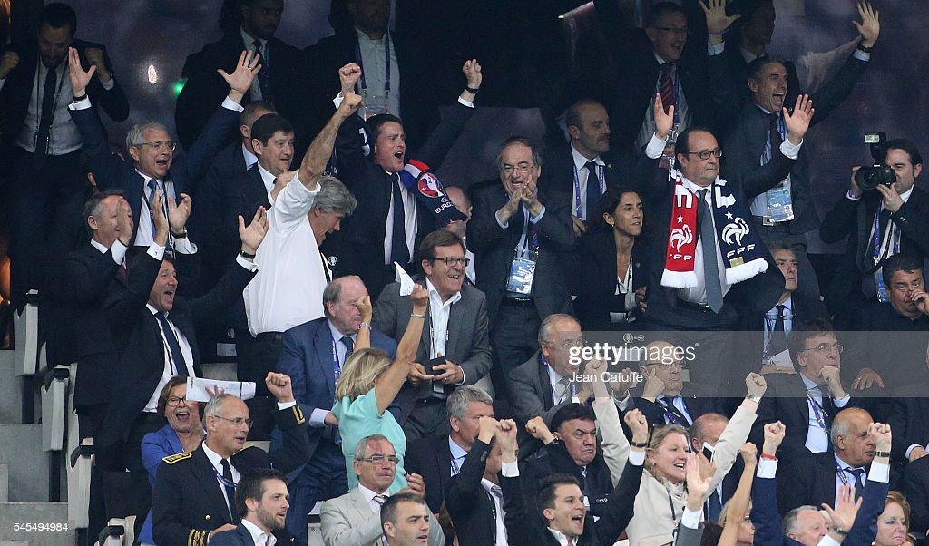 President of French Parliament Claude Bartolone, French Ministers Patrick Kanner, Stephane Le Foll, Thierry Braillard, below Christian Estrosi, French Prime Minister Manuel Valls, President of French Football Federation Noel Le Graet, President of France Francois Hollande celebrate the first goal of France during the UEFA Euro 2016 semi-final match between Germany and France at Stade Velodrome on July 7, 2016 in Marseille, France.