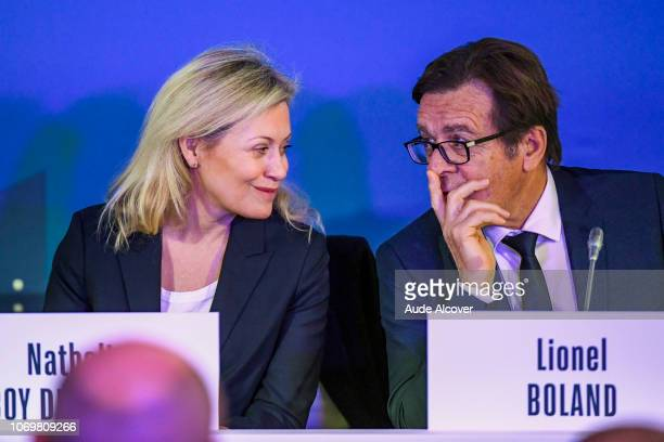 President of French Professional Football League and executive committee member Nathalie Boy De La Tour and treasurer of the French Football...