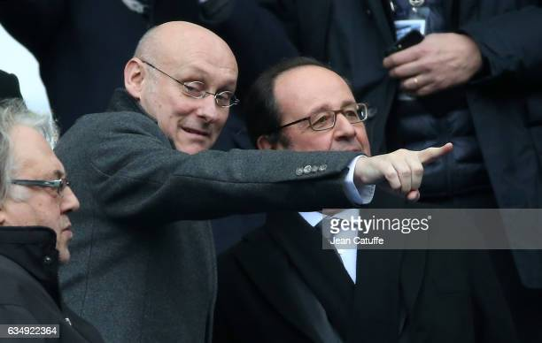 President of French Rugby Federation Bernard Laporte and President of France Francois Hollande attend the RBS 6 Nations tournament match between...