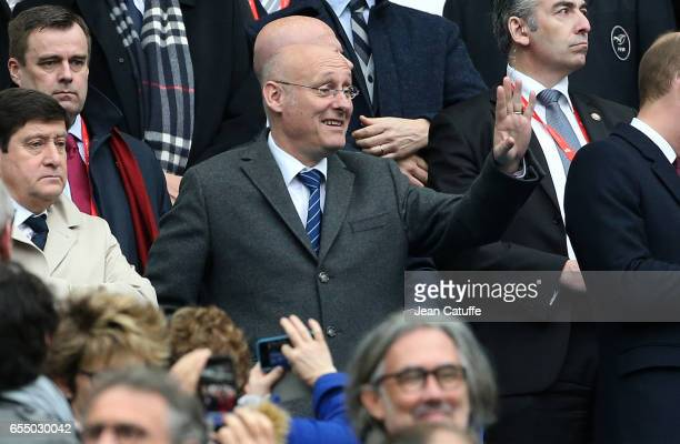 President of French Rugby Federation Bernard Laporte attends the RBS 6 Nations rugby match between France and Wales at Stade de France on March 18...