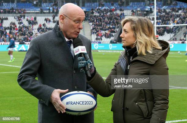 President of French Rugby Federation Bernard Laporte who promotes the French candidacy to organize the Rugby World Cup 2023 is interviewed by...