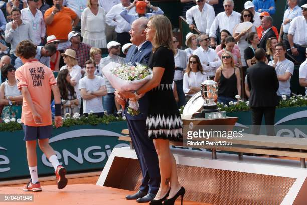 President of French Tennis Federation Bernard Giudicelli and Arantxa Sanchez Vicario attend the Women Final of the 2018 French Open Day Fourteen at...
