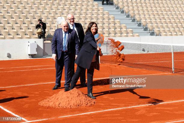 President of French Tennis Federation Bernard Giudicelli, Grandson of Simonne Mathieu, Bertrand Mathieu and Mayor of Paris Anne Hidalgo attend the...