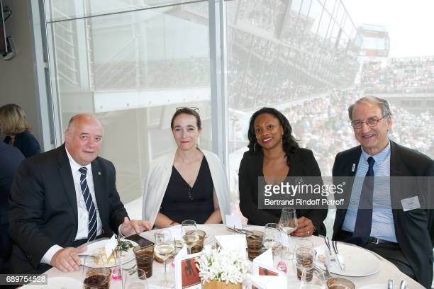 President of French Tennis Federation Bernard Giudicelli President of France Television Delphine Ernotte French Minister of Sports Laura Flessel and...
