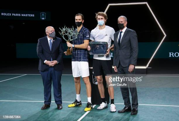 President of French Tennis Federation FFT Bernard Giudicelli, winner Daniil Medvedev of Russia, finalist Alexander Zverev of Germany, Director of the...