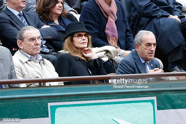 President of French Tennis Federation Jean Gachassin actress Cyrielle Clair and her husband President of Forest Hill Michel Corbiere attend Day...