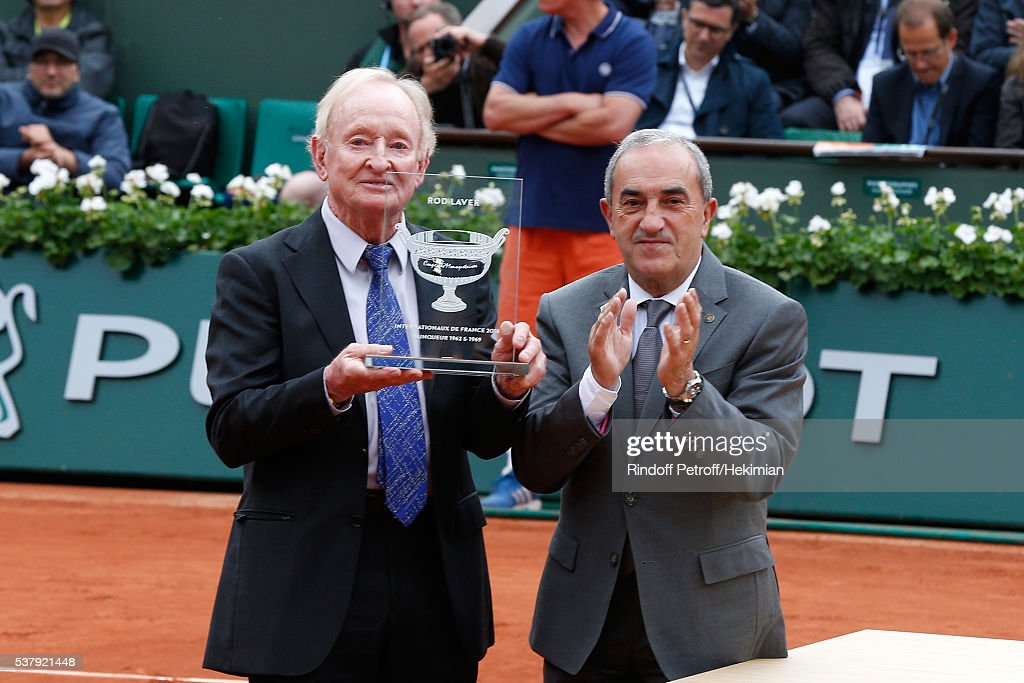 President of French Tennis Federation Jean Gachassin (R) and the Central Court pay tribute to the last Tennis player who has won the 'Grand Chelem' in 1969, Rod Laver (L) attend Day Thirteen of the 2016 French Tennis Open at Roland Garros on June 3, 2016 in Paris, France.