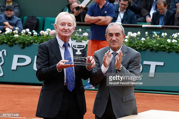 President of French Tennis Federation Jean Gachassin and the Central Court pay tribute to the last Tennis player who has won the 'Grand Chelem' in...