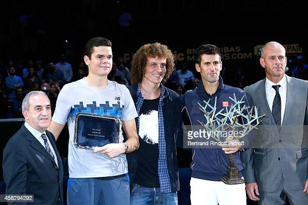 President of French Tennis Federation Jean Gachassin Loser of the final Milos Raonic Football player David Luiz winner of the tournament Novak...