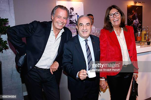 President of French Tennis Federation Jean Gachassin standing between Michel Leeb and his wife Beatrice attend the Final match during day 7 of the...