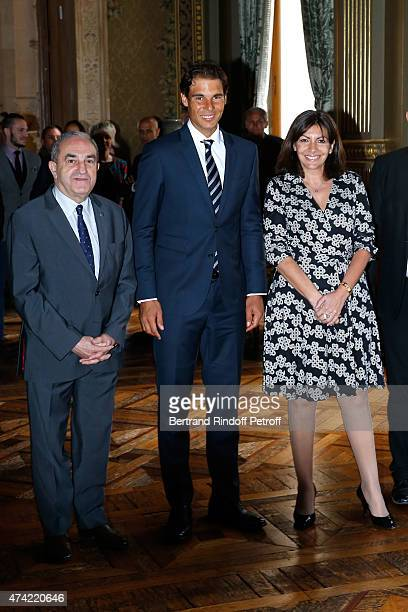 President of French Tennis Federation Jean Gachassin Tennis Player Rafael Nadal and Mayor of Paris Anne Hidalgo attend Anne Hidalgo Awards the 'Grand...