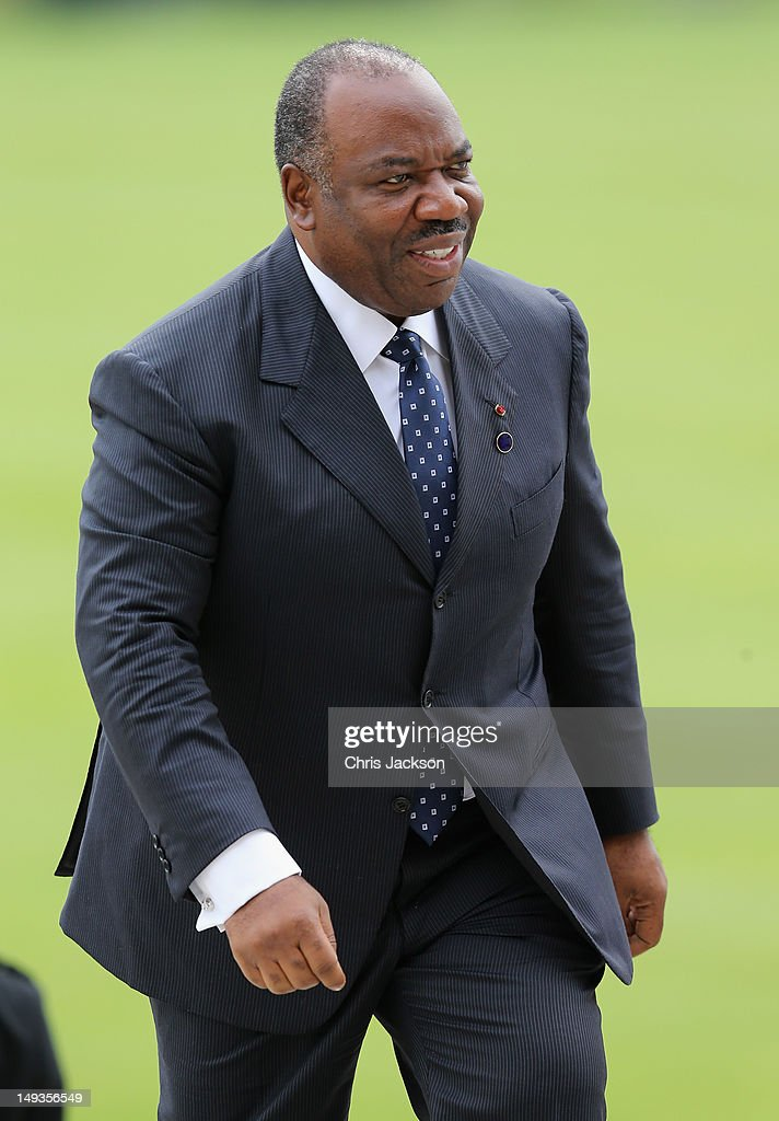 President of Gabon Ali Bongo Ondimba and his wife Sylvia arrives for a reception at Buckingham Palace for Heads of State and Government attending the Olympics Opening Ceremony at Buckingham Palace on July 27, 2012 in London, England.