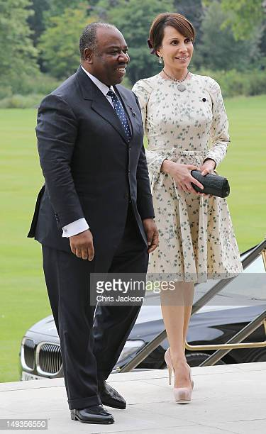 President of Gabon Ali Bongo Ondimba and his wife Sylvia arrives for a reception at Buckingham Palace for Heads of State and Government attending the...