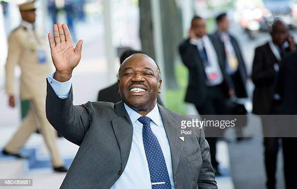 President of Gabon Ali Bongo Ondimba departs at the conclusion of the 2014 Nuclear Security Summit on March 25 2014 in The Hague Netherlands Leaders...