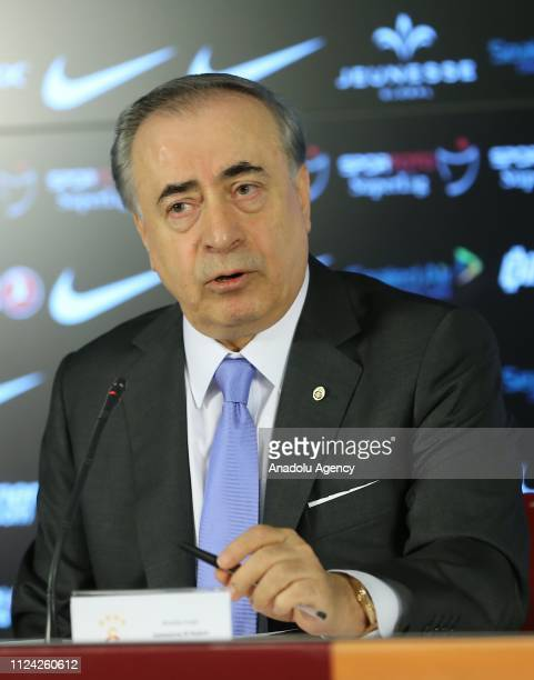 President of Galatasaray Mustafa Cengiz attends a signing ceremony of Galatasaray's new transfers at Turk Telekom Stadium in Istanbul Turkey on...