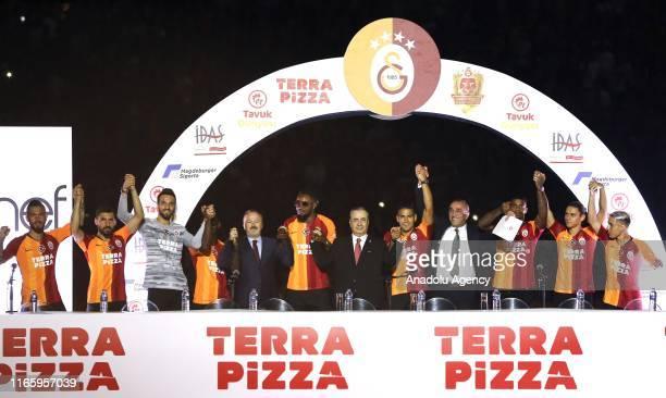 President of Galatasaray Mustafa Cengiz Galatasaray's vice chair Abdurrahim Albayrak Galatasaray's Vice President Yusuf Gunay and Galatasaray's new...