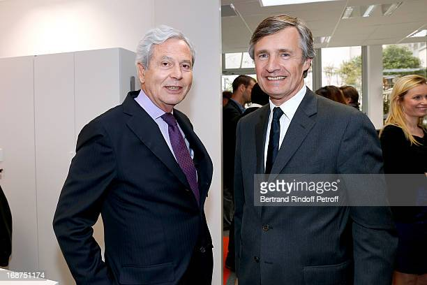 President of Galeries La Fayette Philippe Houze and President of L'Opinion Nicolas Beytout attend 'L'Opinion' Newspaper Launch Party on May 14 2013...