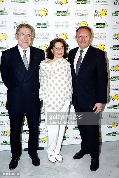 President of GDFSUEZ Gerard Mestrallet Nathalie Iannetta and Ministre of Sports Thierry Braillard attend the 'Sport Citoyen' Diner at UNESCO on April...
