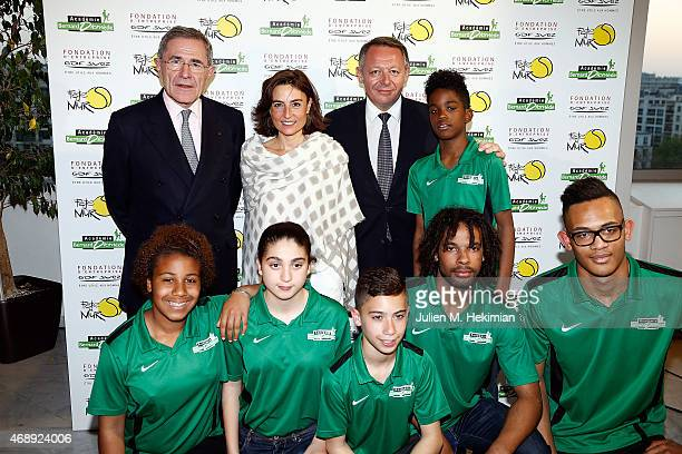President of GDFSUEZ Gerard Mestrallet Nathalie Iannetta Ministre of Sports Thierry Braillard and Students of 'Bernard Diomede Academie' attend the...