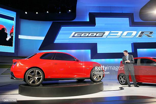 President of General Motors North America Mark Reuss introduces the Code 130R concept vehicle during the press preview at the North American...