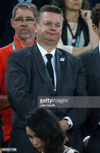 President of German Football Association Reinhard Grindel attends the Men's Soccer Final between Brazil and Germany on day 15 of the Rio 2016 Olympic...